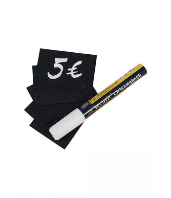 SET 20 TARGHETTE NERE 5,2x7,4cm (A8) Securit